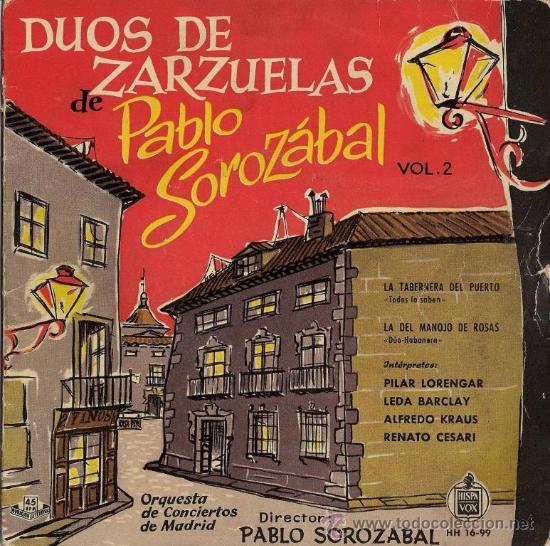 DUOS DE ZARZUELA DE PABLO SOROZÁBAL - PILAR LORENGAR, ALFREDO KRAUS, 1959 (Música - Discos de Vinilo - EPs - Clásica, Ópera, Zarzuela y Marchas)