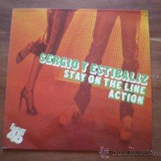 Discos de vinilo: SERGIO Y ESTIBALIZ - STAY ON THE LINE / ACTION - (ZAFIRO-1979) VINILO ROJO - FERNANDO ARBEX MAXI LP. Lote 24255833
