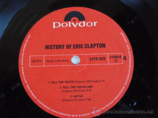 ERIC CLAPTON (HISTORY OF ERIC CLAPTON) DOBLE LP33 GERMANY POLYDOR 'SIN FUNDA ORIGINAL' (Música - Discos - LP Vinilo - Pop - Rock - Internacional de los 70)