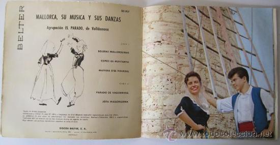 Discos de vinilo: MALLORCA. SU MÚSICA Y SUS DANZAS - Agrupación El Parado de Valldemosa - EP - 1960 - Foto 3 - 26951830