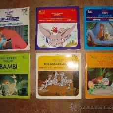 Discos de vinilo: 6 VINILOS DISCOS DE DISNEY DUMBO, LA BELLA DURMIENTE, BAMBI, 101 DALMATAS, LOS ARISTOGATOS ETC.. Lote 31999004