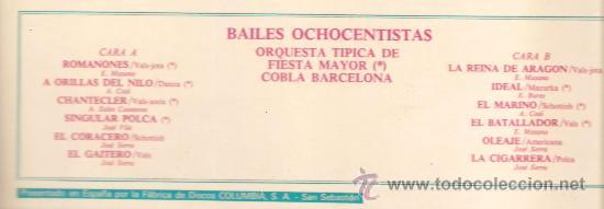 Discos de vinilo: LP COBLA BARCELONA - BAILES OCHOCENTISTAS - Foto 2 - 27037428