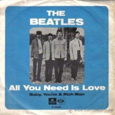 Discos de vinilo: THE BEATLES - SINGLE 7'' - EDICIÓN PARA SUECIA - AL YOU NEED IS LOVE + 1 - PARLOPHONE 1967. Lote 26697320