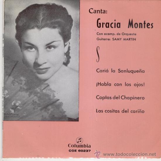 GRACIA MONTES -- CARIA LA SANLUQUERA + 3 --- EP 1968 (Música - Discos de Vinilo - EPs - Flamenco, Canción española y Cuplé)