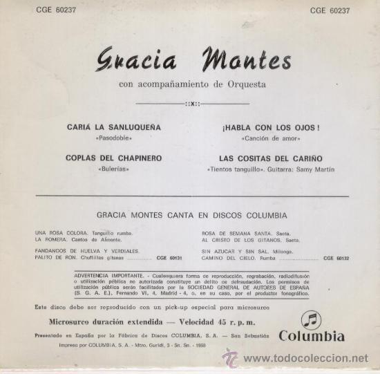 Discos de vinilo: GRACIA MONTES -- CARIA LA SANLUQUERA + 3 --- EP 1968 - Foto 2 - 26811219