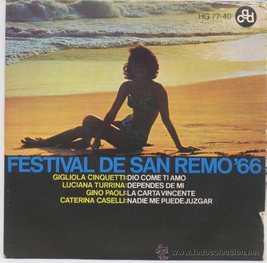 FESTIVAL DE SAN REMO 66(GIGLIOLA CINQUETTI,GINO PAOLI Y OTROS) (Música - Discos - Singles Vinilo - Otros Festivales de la Canción)