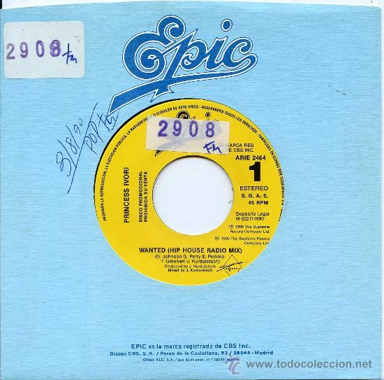 PRINCESS IVORI / WANTED (HIP HOUSE RADIO MIX) (SINGLE 1990) (Música - Discos - Singles Vinilo - Pop - Rock Extranjero de los 90 a la actualidad)