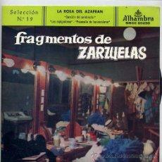 Discos de vinilo: FRAGMENTOS DE ZARZUELAS SELECCION Nº 19 (EP 59). Lote 21433087