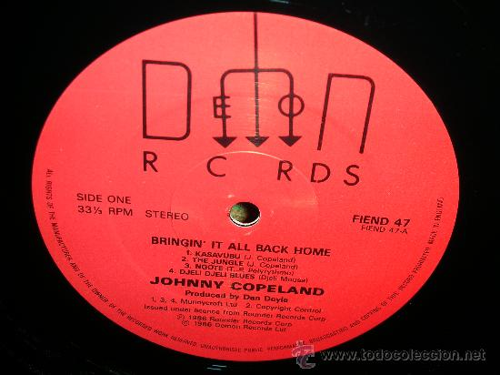 Discos de vinilo: JOHNNY COPELAND - BRINGIN´IT ALL BACK HOME LP . ORIGINAL INGLES - DEMON RECORDS 1986 - Foto 4 - 27358495