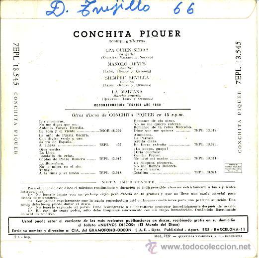Discos de vinilo: CONCHITA PIQUER. PA QUIEN SERA, MANOLO REYES, SIEMPRE SEVILLA, LA MARIANA - Foto 2 - 26560986