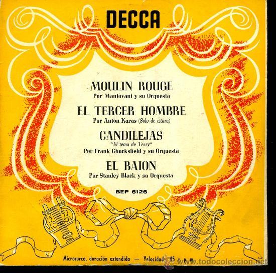 MANTOVANI / ANTON KARAS / FRANK CHACKSFIELD / STANLEY BLACK - MOULIN ROUGE, ETC - EP 195? O 6? (Música - Discos de Vinilo - EPs - Orquestas)
