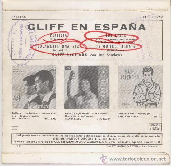 Discos de vinilo: CLIFF RICHARD EN ESPAÑOL ( CON THE SHADOWS) -- EP 1963 - Foto 2 - 27187081