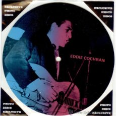 Discos de vinilo: EDDIE COCHRAN - SINGLE PICTURE 2 TEMAS POR 1 CARA NUEVO FOTODISCO MADE IN DINAMARCA - ULTRARARE!!. Lote 37918014