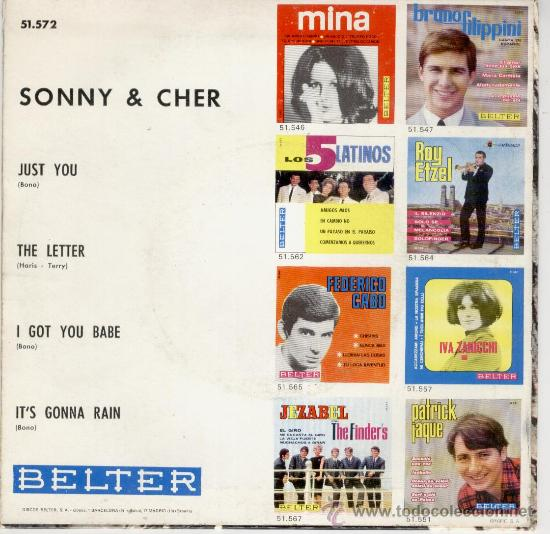 Discos de vinilo: SONNY & CHER -- JUST YOU - THE LETTER - I GOT YOU BABE - ITS GONNA RAIN - EP 1965 - Foto 2 - 27426832