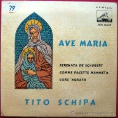 Discos de vinilo: TITO SCHIPA - AVE MARIA SCHUBERT - EP LA VOZ DE SU AMO 1959 BPY. Lote 26153679