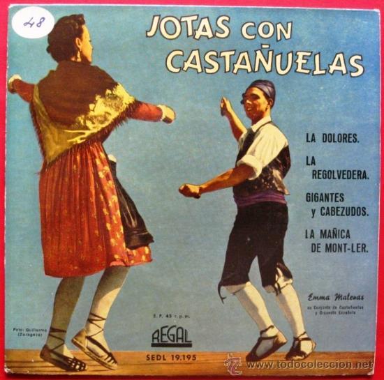 EMMA MALERAS - JOTAS CON CASTAÑUELAS - ARAGON JOTA - EP REGAL 1958 BPY (Música - Discos de Vinilo - EPs - Flamenco, Canción española y Cuplé)