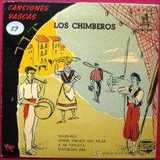 Discos de vinilo: LOS CHIMBEROS - CANCIONES VASCAS - EP CIA DEL GRAMÓFONO ODEON 1958 BPY. Lote 26627467