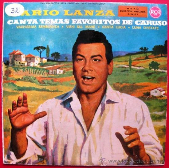 MARIO LANZA - CANTA TEMAS FAVORITOS DE CARUSO - EP RCA 1960 BPY (Música - Discos de Vinilo - EPs - Clásica, Ópera, Zarzuela y Marchas)