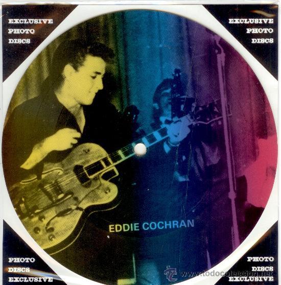 EDDIE COCHRAN - SINGLE PICTURE 2 TEMAS POR 1 CARA NUEVO FOTODISCO MADE IN DINAMARCA - ULTRARARE!! (Música - Discos - Singles Vinilo - Rock & Roll)