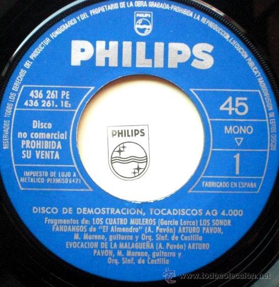 Discos de vinilo: los SONOR EP Spain 1964 PROMO PHILIPS - disco demostracion - Foto 2 - 24985521