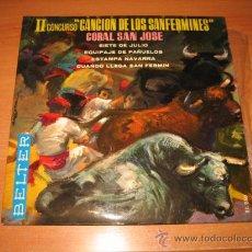 Discos de vinilo: II CONCURSO CANCION DE LOS SANFERMINES CORAL SAN JOSE BELTER 1974. Lote 22313833
