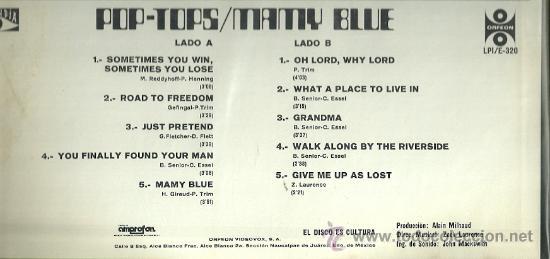 Discos de vinilo: POP-TOPS LP SELLO ORFEON EDITADO EN MEXICO - Foto 2 - 22585674