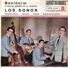 Discos de vinilo: LOS SONOR - FRONTERAS + 3 (EP DE 4 CANCIONES) RCA 1961 - PROMO¡¡ EX/EX. Lote 26946506