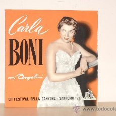Disques de vinyle: CARLA BONI CON ANGELI VII FESTIVAL DELLA CANZONE-SAN REMO AÑO 1957 CETRA 33 RPM . Lote 22839443