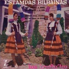 Discos de vinilo: LOS IRUÑA'KO - ESTAMPAS BILBAÍNAS - 1960 (EXCELENTE CONSERVACIÓN). Lote 26314385