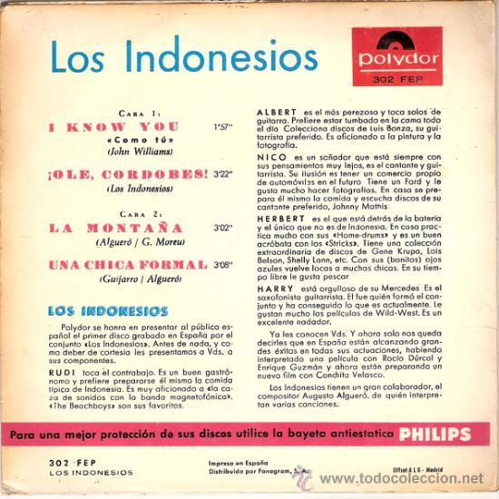 Discos de vinilo: LOS INDONESIOS - I KNOW YOU + 3 (EP DE 4 CANCIONES) POLYDOR - VG+/EX - Foto 2 - 26470867