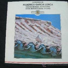 Discos de vinilo: LP CANCIONES DE FEDERICO GARCIA LORCA // OSCAR MANZANO, BARITONO, AIDA MONASTERIO, PIANO. Lote 25031386