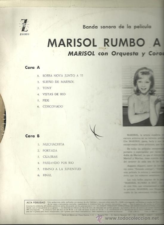 Discos de vinilo: MARISOL LP SELLO GAMMA ZAFIRO EDITADO EN MEXICO DEL FILM MARISOL RUMBO A RIO - Foto 2 - 23278099
