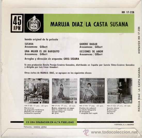 Discos de vinilo: MARUJITA DIAZ - CANCIONES DEL FILM : LA CASTA SUSANA - EP 1963 - Foto 2 - 27587711