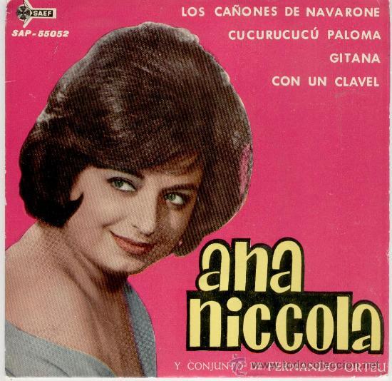 ANA NICCOLA ( Y SU CONJUNTO DE FERNANDO ORTEU ) - LOS CAÑONES DE NAVARONE + 3 - EP 1962 (Música - Discos de Vinilo - EPs - Solistas Españoles de los 50 y 60)