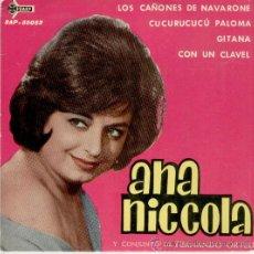 Discos de vinilo: ANA NICCOLA ( Y SU CONJUNTO DE FERNANDO ORTEU ) - LOS CAÑONES DE NAVARONE + 3 - EP 1962. Lote 27618576