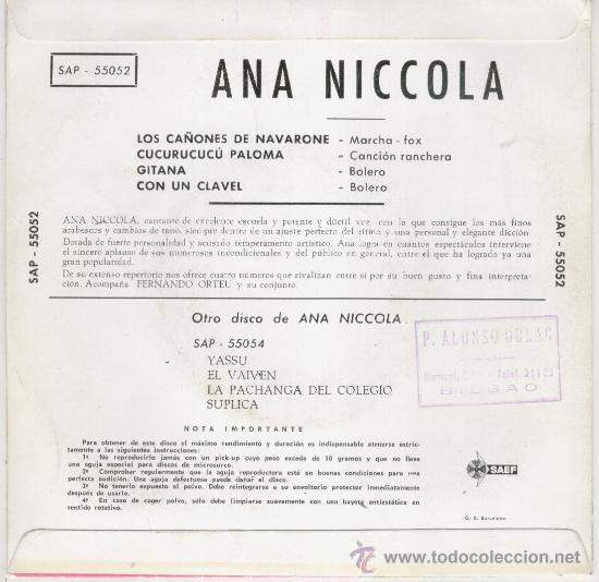 Discos de vinilo: ANA NICCOLA ( Y SU CONJUNTO DE FERNANDO ORTEU ) - LOS CAÑONES DE NAVARONE + 3 - EP 1962 - Foto 2 - 27618576