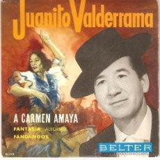 Discos de vinilo: JUANITO VALDERRAMA , A CARMEN AMAYA , FANTASIA , ALEGRIAS , FANDANGOS, EP 64 DE CONS. Lote 23560986