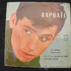 Discos de vinilo: RAPHAEL // TU CUPIDO - INMENSIDAD - TE VOY A CONTAR MI VIDA - PERDONA OTELO // AÑO 1962 SU PRIMER DI. Lote 30094374