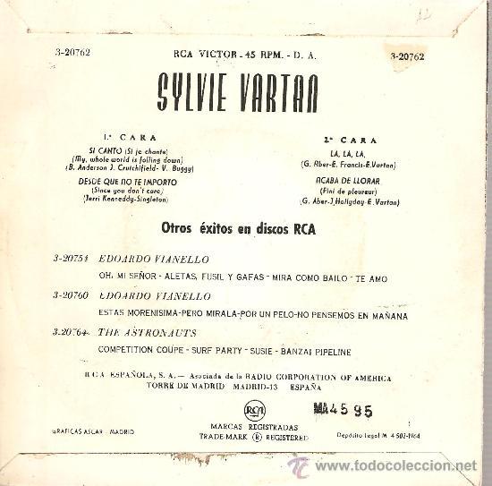 Discos de vinilo: 2 EP´S SYLVIE VARTAN : MISTER JOHN B. + SI JE CHANTE - Foto 4 - 23797176