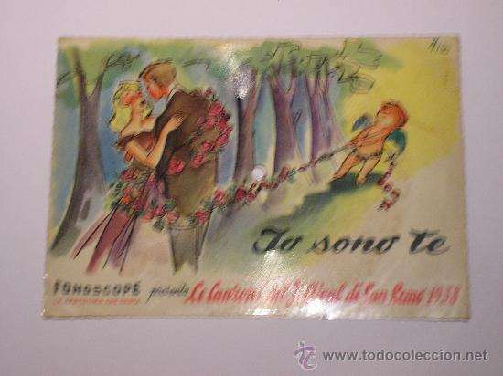 DISCO FESTIVAL SAN REMO 1958 - JO SONO TE - FONOSCOPE - LA CETULINA QUE CANTA (Música - Discos - Singles Vinilo - Otros Festivales de la Canción)