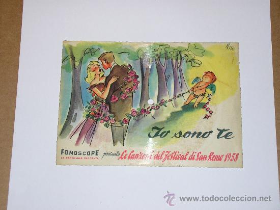 Discos de vinilo: DISCO FESTIVAL SAN REMO 1958 - JO SONO TE - Fonoscope - La Cetulina que canta - Foto 2 - 25259997