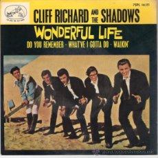 Discos de vinilo: CLIFF RICHARD AND THE SHADOWS - WONDERFUL LIFE + 3 (EP DE 4 CANCIONES) EMI 1964 - EX/EX. Lote 26832816