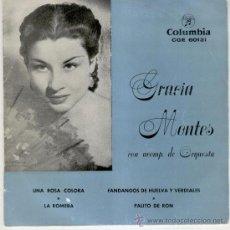 Discos de vinilo: GRACIA MONTES - UNA ROSA COLORA - LA ROMERA - FANDANGOS DE HUELVA VERDIALES - PALITO DE RON - EP. Lote 27187074