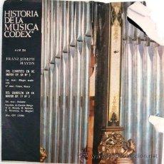Discos de vinilo: LOTE DE 10 HISTORIA DE LA MUSICA CODEX FRANZ HAYDN DEL CUARTETO EN RE MAYOR, OP. 64 SINGLE AÑO 1966. Lote 24397454
