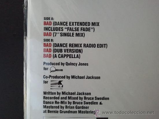 Discos de vinilo: MICHAEL JACKSON - BAD - MAXI SINGLE - SPECIAL 12 SINGLE MIXES - MJJ - 1987 - Foto 3 - 57306175