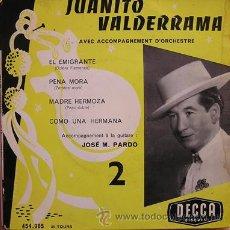 Discos de vinilo: FLAMENCO COPLA. JUANITO VALDERRAMA. EL EMIGRANTE. DISCO FRANCES. DECCA. Lote 27421614
