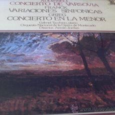 Discos de vinilo: ADDINSEL.- FRANCK.- GRIEG.- CONCIERTO DE VARSOVIA-VARIACIONES SINFONICAS.- DIR.-ARMIN JORDAN . Lote 24682657