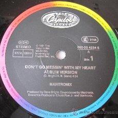 Discos de vinilo: MANTRONIX - DON´T GO MESSING WITH MY HEART MAXI SINGLE EMI 1991. Lote 145025841