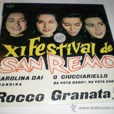 Discos de vinilo: SAN REMO - XI FESTIVAL. Lote 25508159