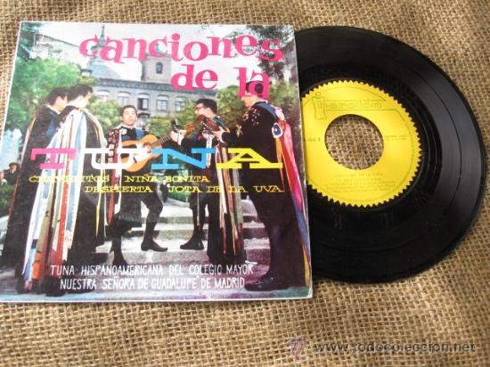 CANCIONES DE LA TUNA -DEL COLEGIO MAYOR NUESTRA SEÑORA DE GUADALUPE DE MADRID 1961 - CORREO 3€ (Música - Discos - Singles Vinilo - Otros estilos)